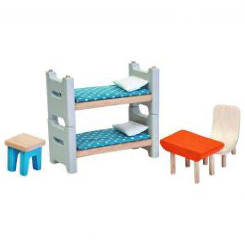 Houten kinderslaapkamer voor poppenhuis