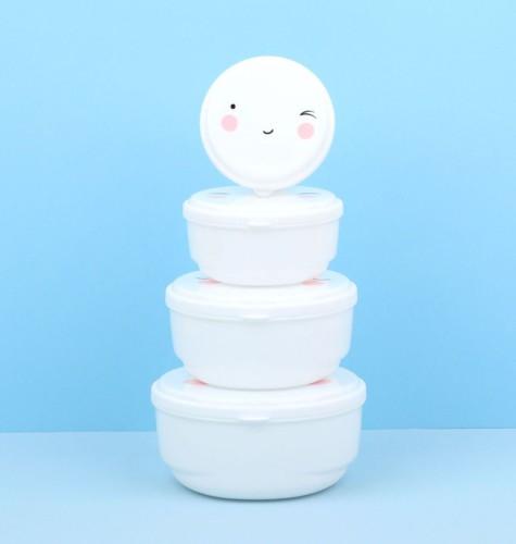 Set van 4 snackdoosjes happy face - A Little Lovely Company