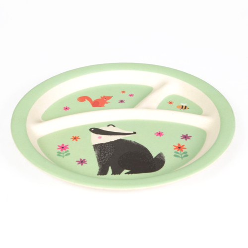 bamboo kinderbord 'Woodland Friends' badger