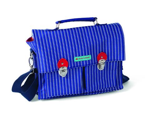 kleuterboekentas (wax coating) met schouder/ruglint, Milano Blue - Froy & Dind