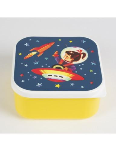 lunchbox vierkant 'Retro Space Geel'