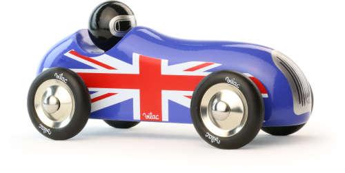 Oude sportwagen Blauw Union Jack