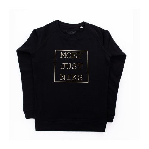 Sweater 'Moet Just Niks' - Vrouw/Zwart