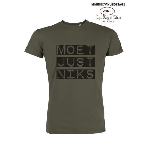 T-shirt 'Moet Just Niks' - Man/Kaki
