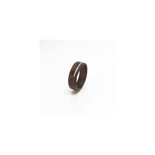 Ring 'Hout/Zilver' - Bruin