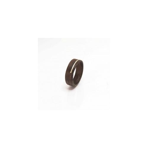 Ring 'Hout/Zilver' - Bruin