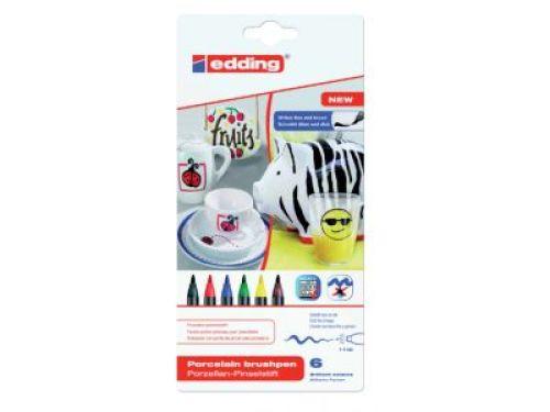 Porseleinstiften - set van 6 stuks in basis kleuren.