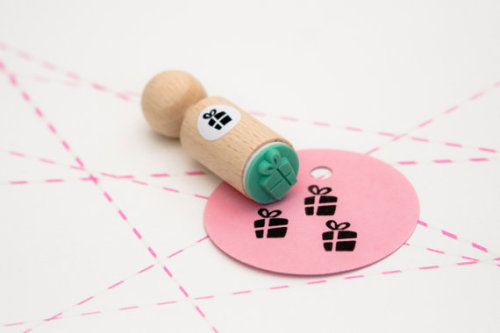 Mini-stempel cadeautje