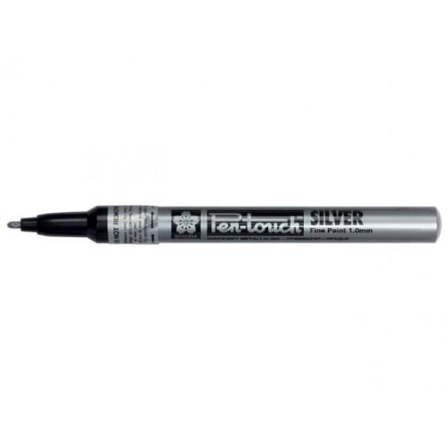 Pen-touch permanente marker zilver (fijn)