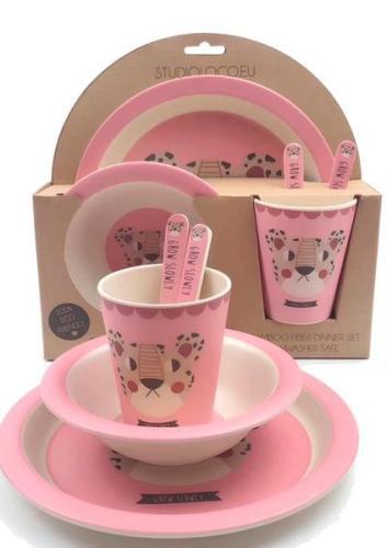 Studioloco bamboo tableware set Leopard Pink 5pcs