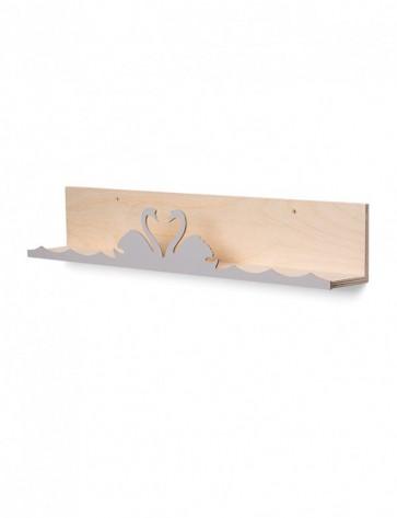 Wandplankje That's mine - 'Swan' – grijs - 55cm