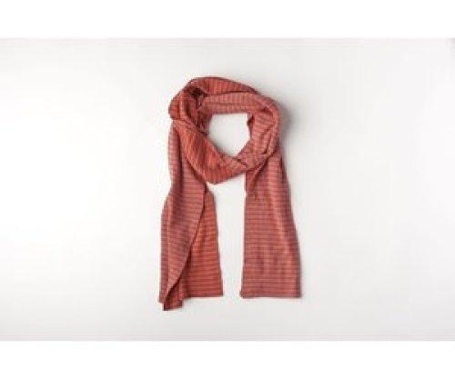 mundo melocotón Sjaal organic knitwear stripes La Línea blush+chili