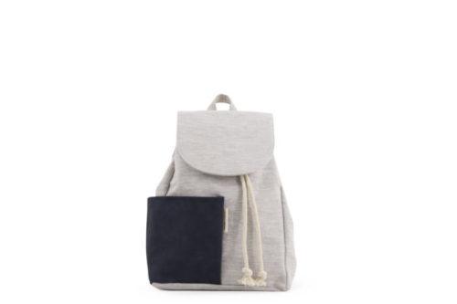 Grijze rugzak 'Haruo' met donkerblauw zakje