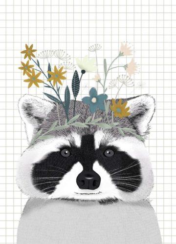 Poster A4 Wasbeer met bloemen