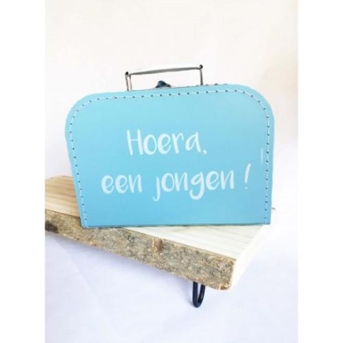 koffertje blauw 'hoera een jongen!'