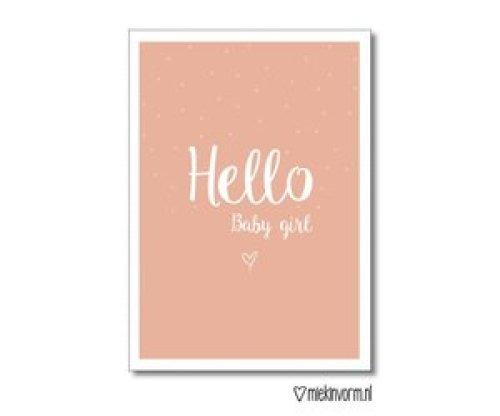 Kaartje 'Hello baby girl' - MIEKinvorm