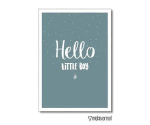 Kaartje 'Hello little boy' - MIEKinvorm