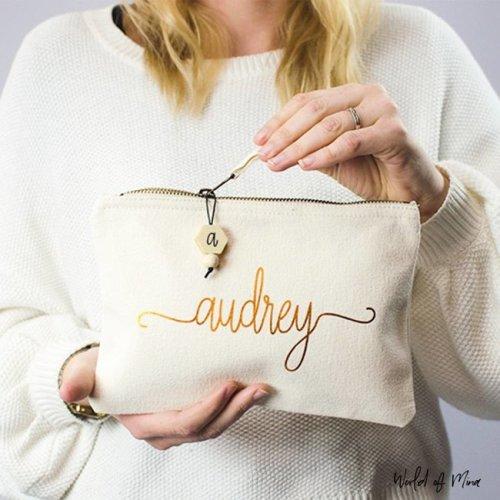 Katoenen make-up tas met naam - naturel - swirl