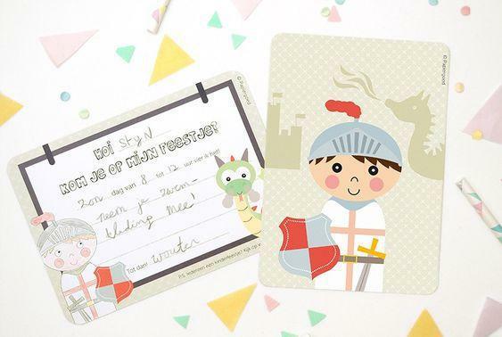 Uitnodigingen feestje 'Ridder' - Papiergoed
