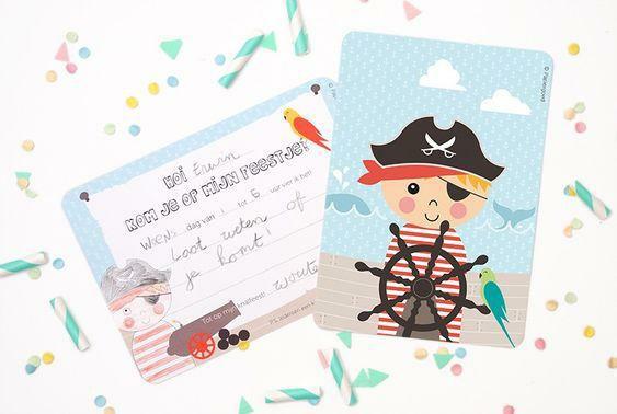 Uitnodigingen feestje 'piraat' - Papiergoed