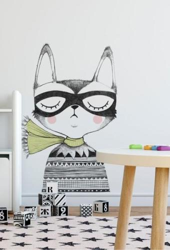 Muursticker 'Captain Cat' XL