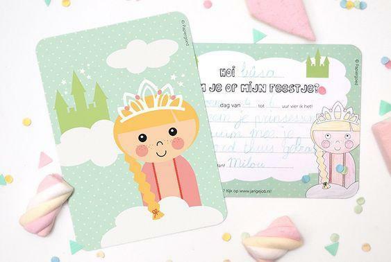 Uitnodigingen feestje 'prinses' - Papiergoed