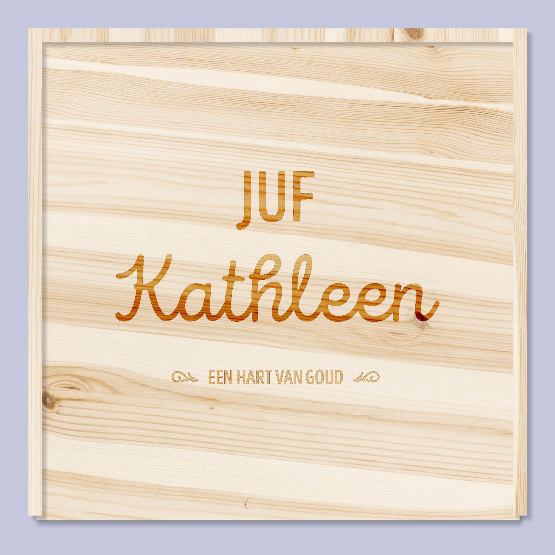 Voor de juf of meester // gepersonaliseerde houten doos