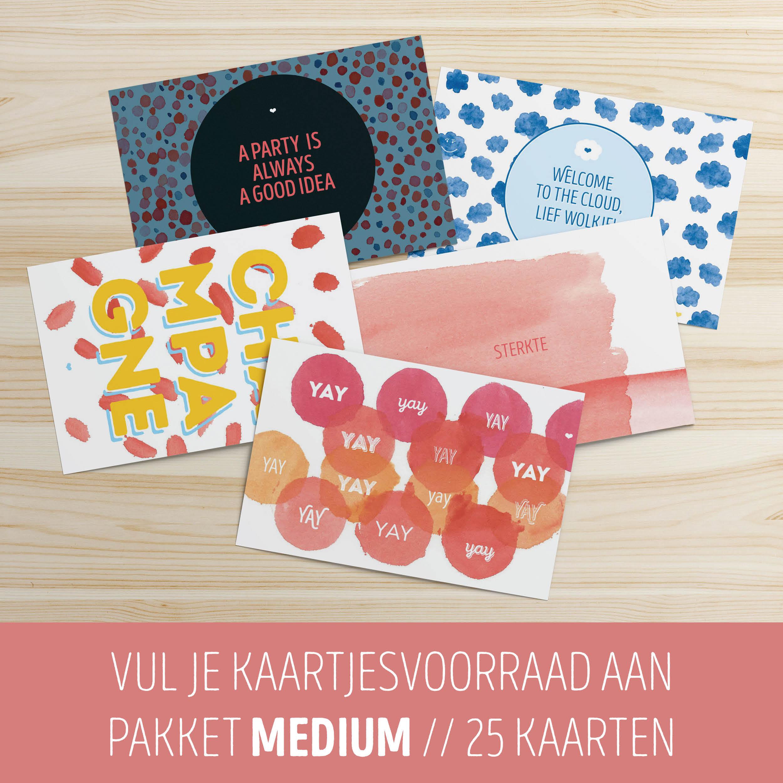 Kaartjesvoorraadpakket Medium // 25 kaarten