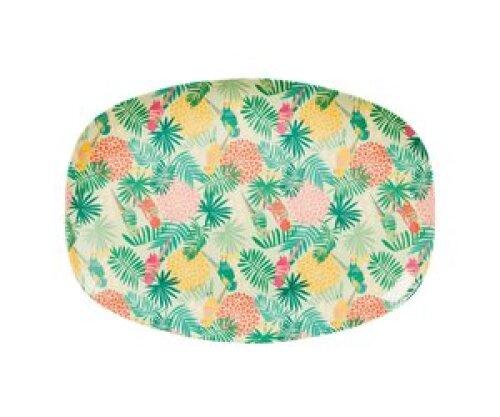 Langwerpig melamine bord - Tropical print