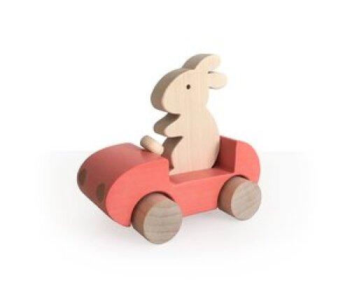 Brikivroomvroom Bunny Car - Coral