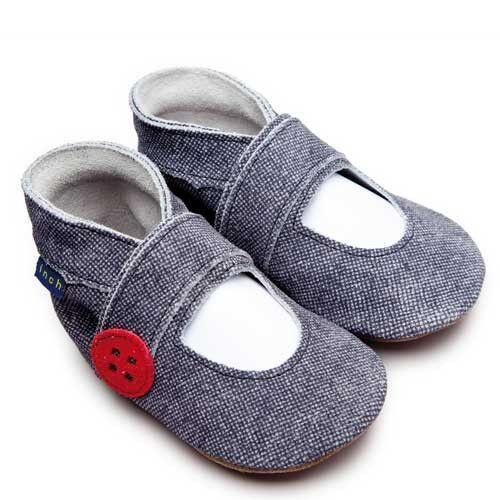 Baby Shoes Mary Jane Button Denim -  Inch Blue