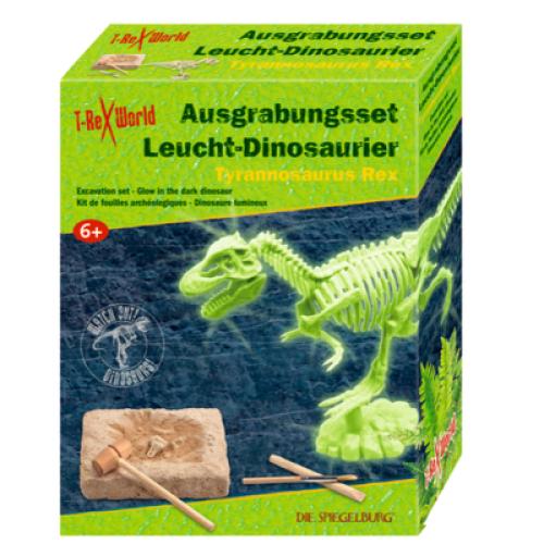 Uitgraafset lichtgevend Tyrannosaurus Rex skelet