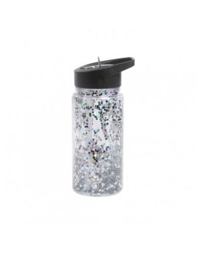 A Little Lovely Company - Drinkfles Zwart Glitter