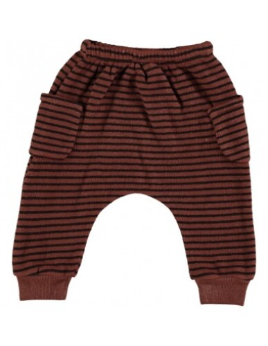Beans Barcelona - Striped Warm Fleece Pants With Pockets | Tile