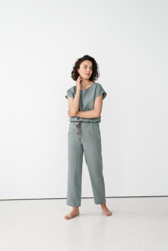 Linnen pyjamabroek / loungebroek - groengrijs