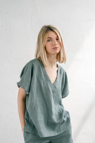 Losse pyjamatop uit linnen