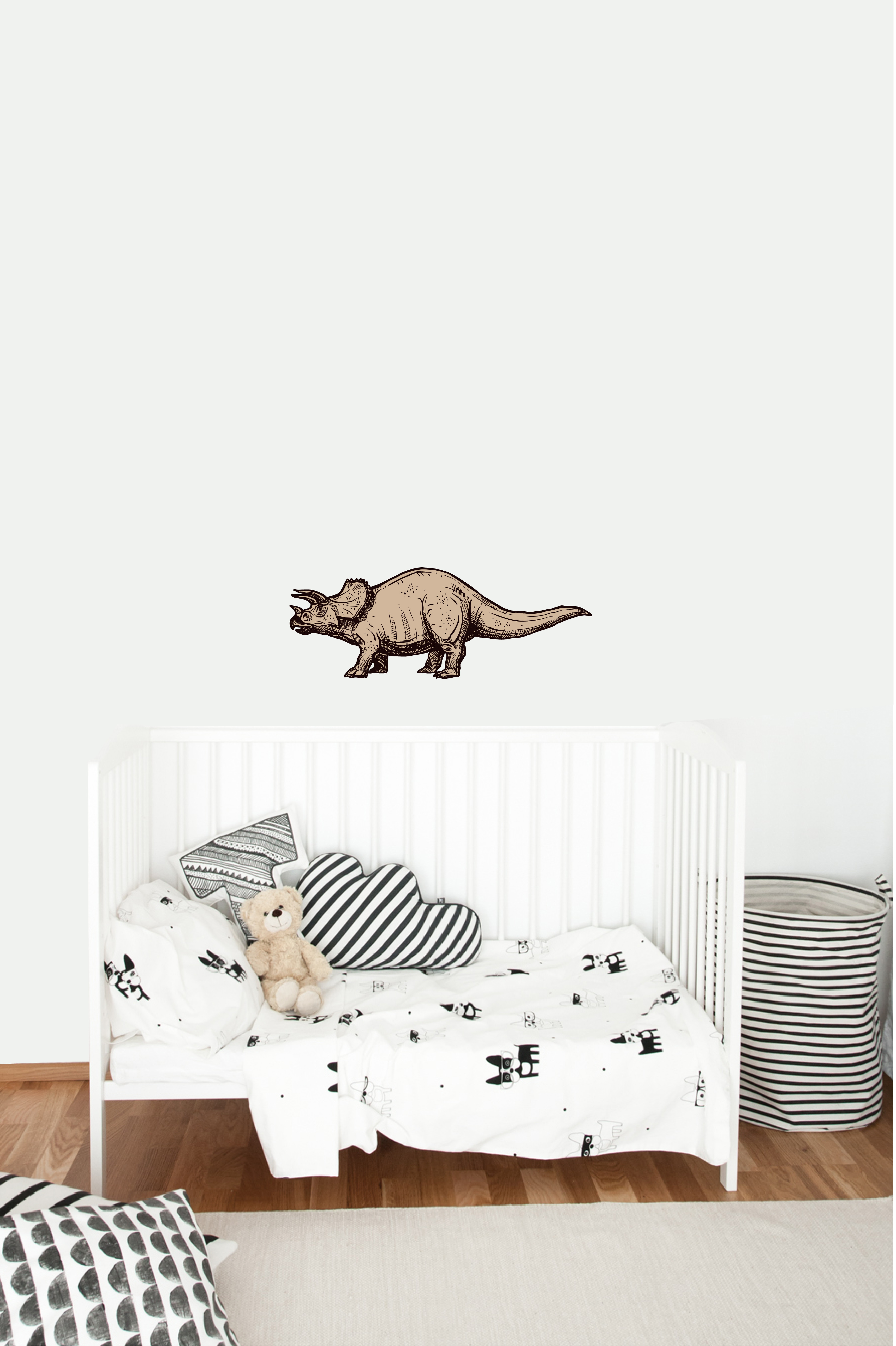 Muursticker triceratops