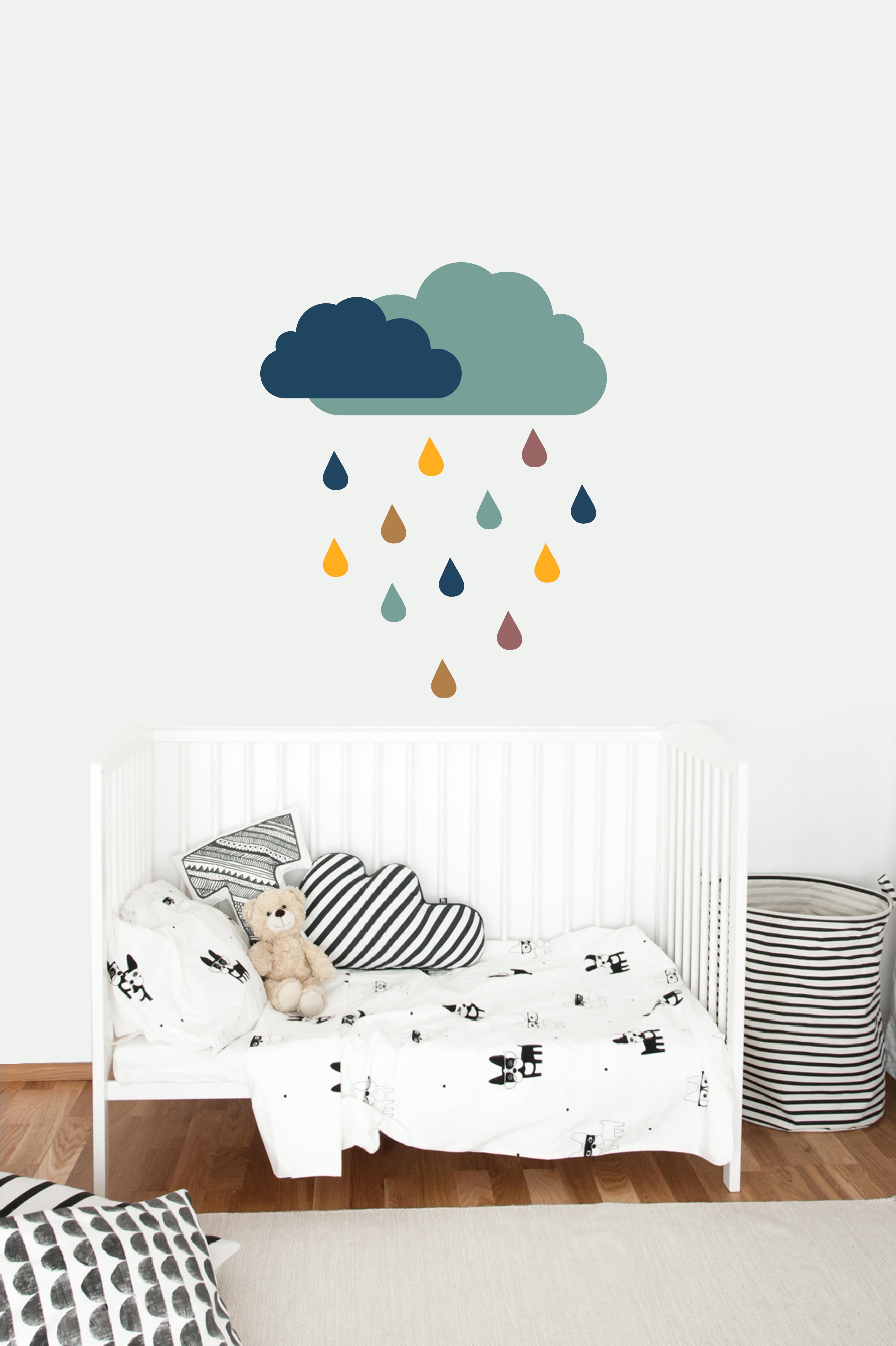 Muursticker rainy clouds