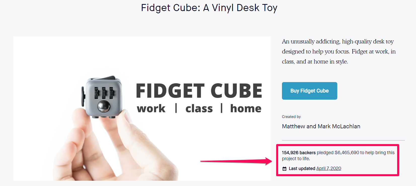 crowdfunding fidget cube backlinks