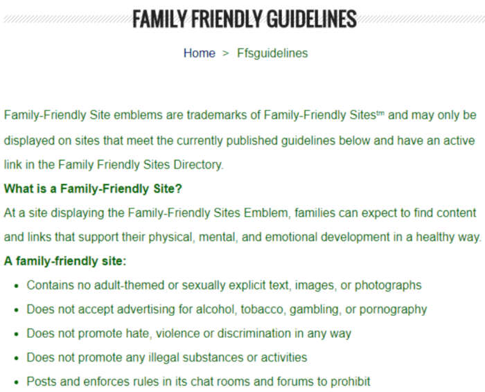 family friendly guidelines backlinks