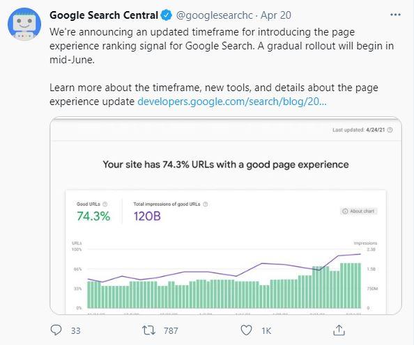 Google Search Central Core Vitals Tweet