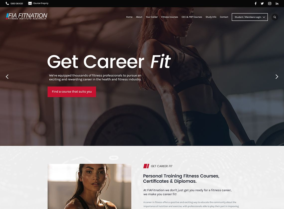 FIA Fitnation Website Home Page