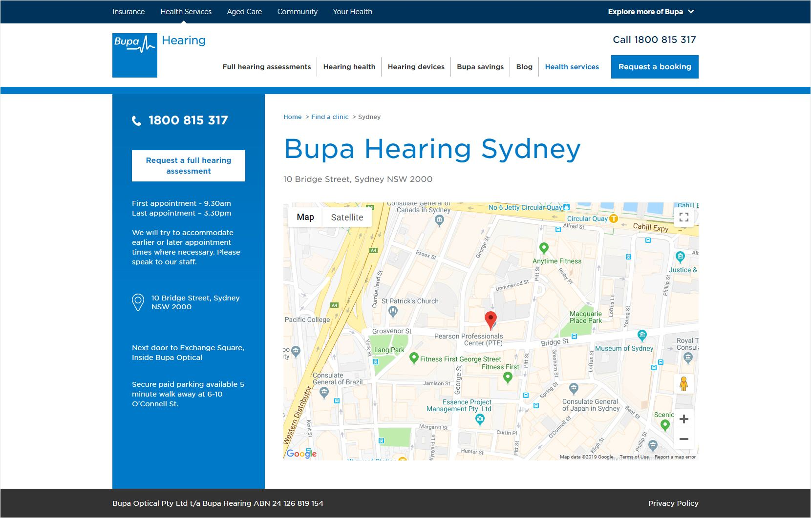 Bupa Hearing Clinic Page
