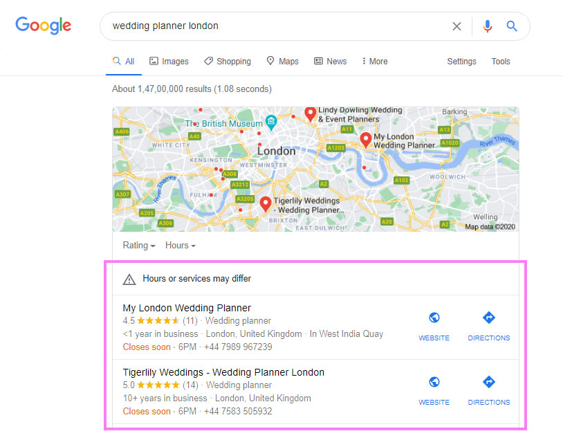 Google Maps results - weddings businesses