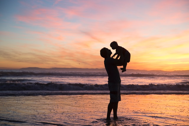 Happy family, sunset