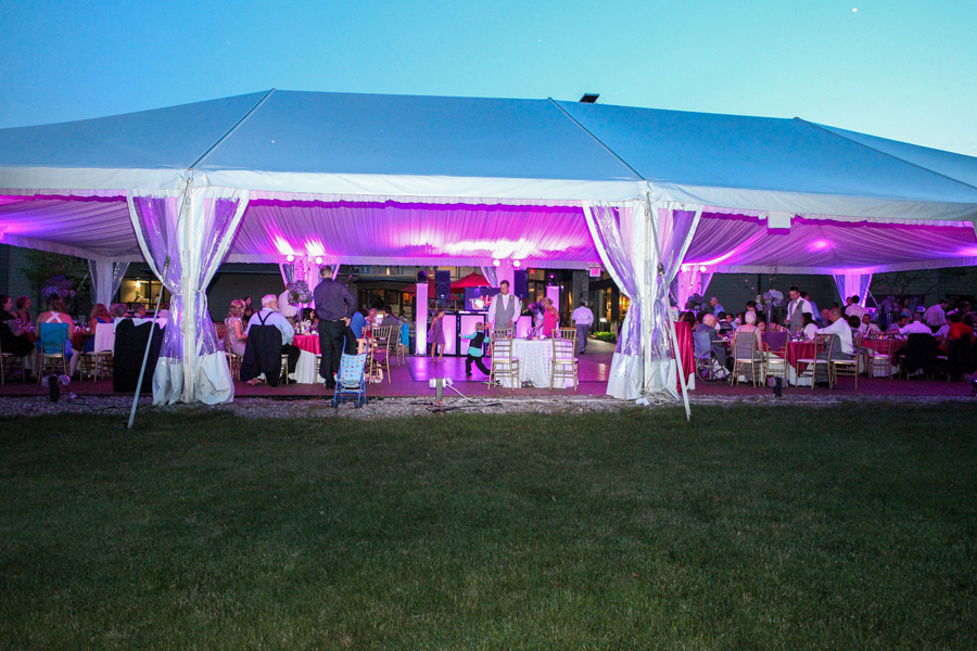 7-6-13 NJ Intelligent Up-lighting and Spotlighting at a NJ Tented Wedding. The Chauncey Conference Center, Princeton, NJ.
