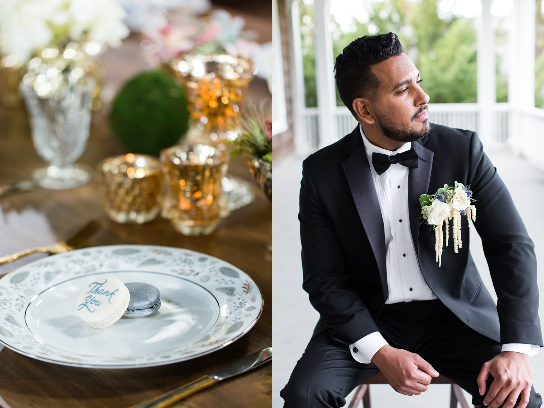 Groom sitting on table Water Witch Club
