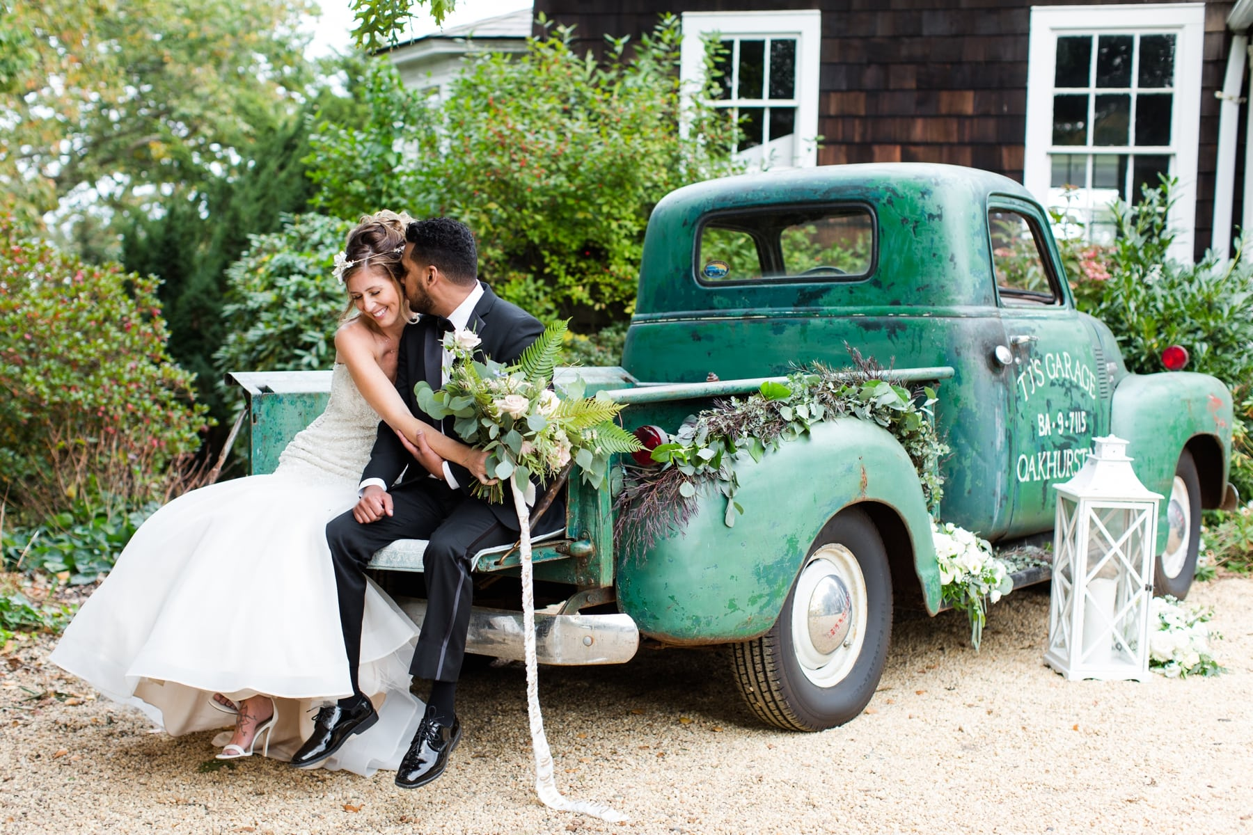 Wedding Couple Sitting on Car Water Witch Club