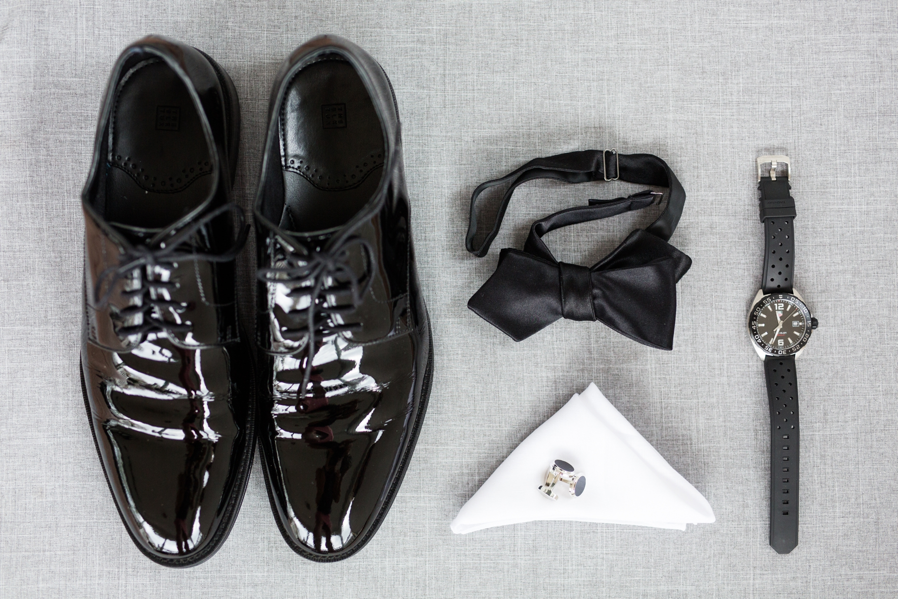 Black shoes, Bow, Cufflinks and Watch