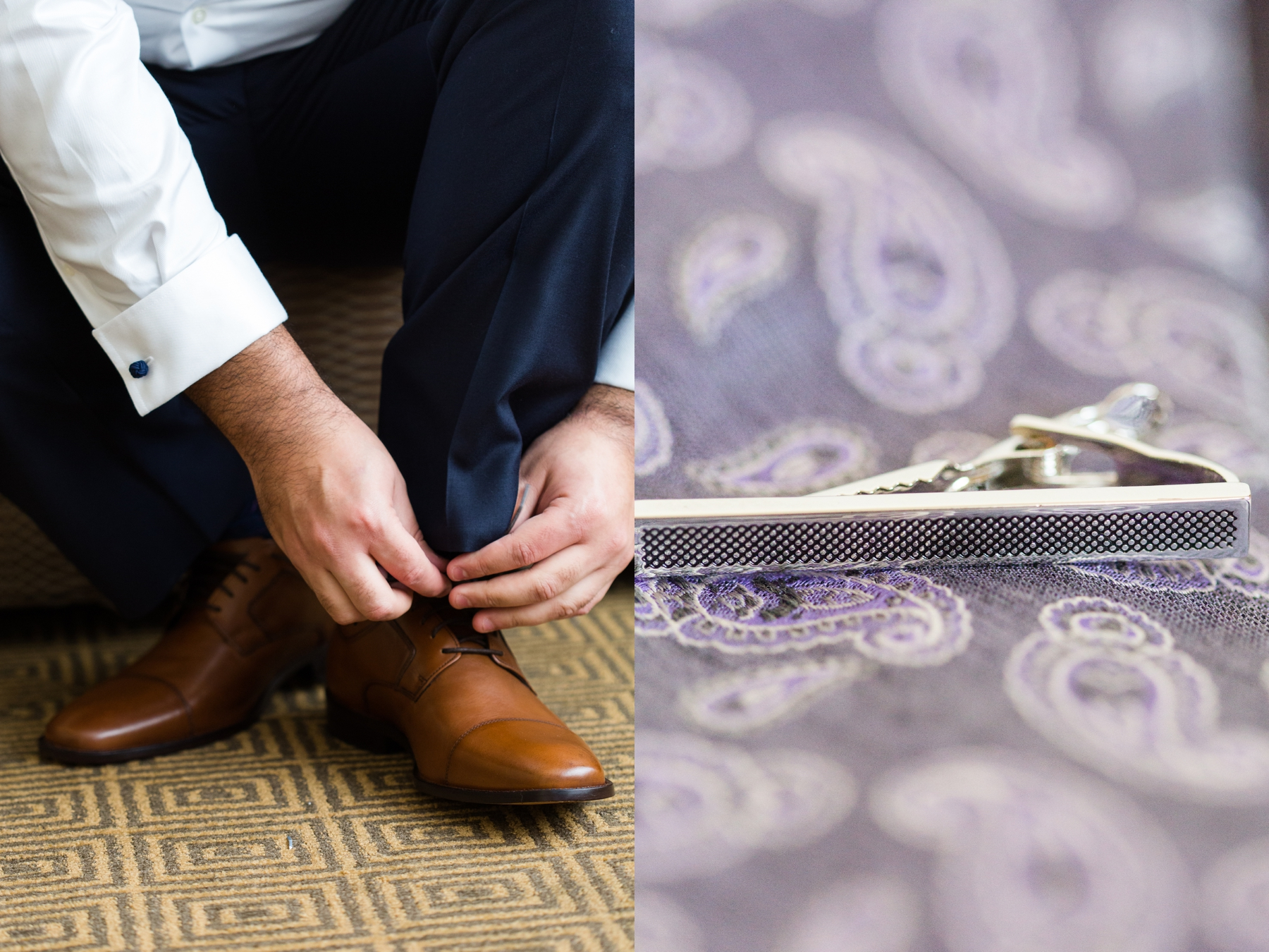 Chris while tieing his shoes lace and tie clip